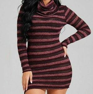 Burgundy Sweater Dress with Cowl Turtle Neck